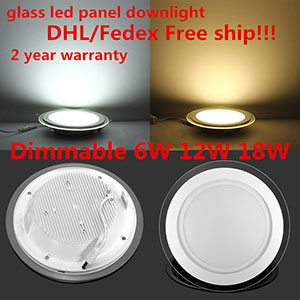 20pcs Dimmable LED Panel Downlight 6W 12W 18W Round Glass Ceiling Font B Recessed B Font