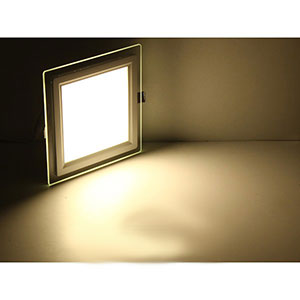 6 Inch Square Led Recessed Light Panel With Decorative Edge Lit Glass 1
